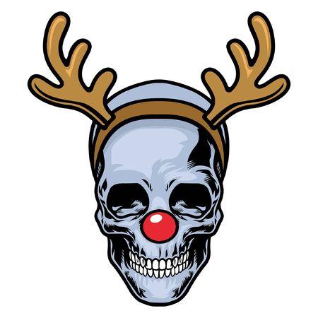 skull wearing red nose and deer antler
