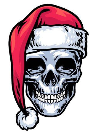 skull wearing hat of santa claus Ilustracja