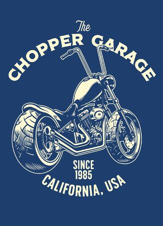 t-shirt design of chopper motorcycle