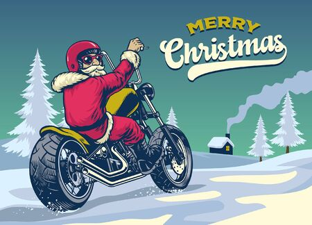 santa claus riding classic old motorcycle on the christmas snowy road