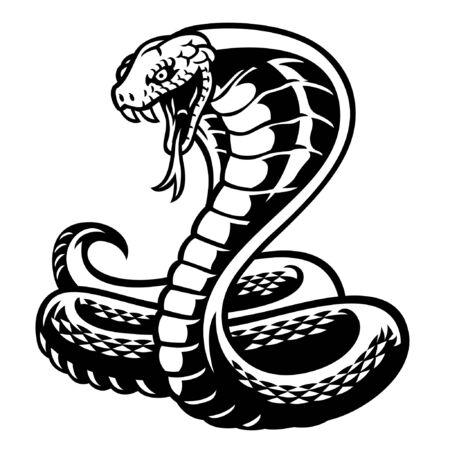 blanco y negro de serpiente cobra Ilustración de vector