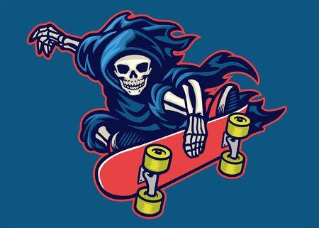 Schädel des Sensenmanns, der Skateboard fährt