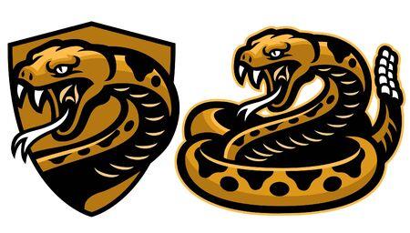 conjunto de mascota serpiente cascabel
