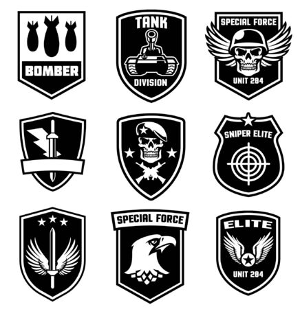 set badges design of military in black and white style 向量圖像