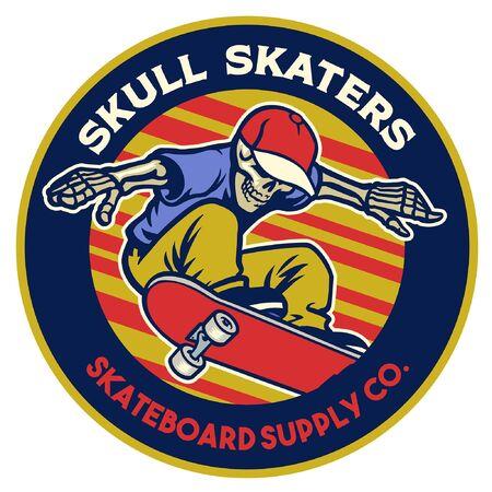 badge design of skeleton riding skateboard