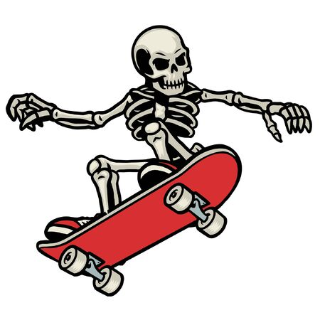 skeleton riding skateboard Stock Illustratie