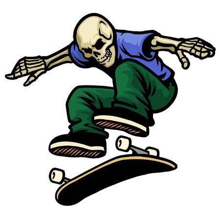 jumping skull riding skateboard