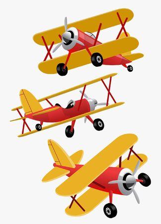 set vector of vintage airplane