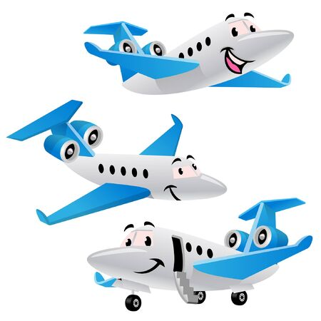 set vector of smiling airplane character Ilustracja