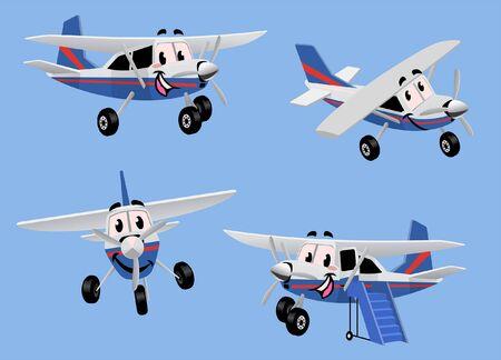 set vector of cartoon airplane