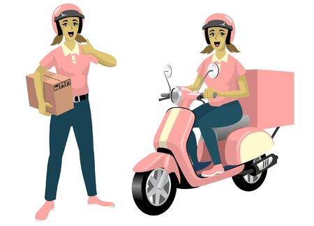 vector of happy delivery girl riding scooter