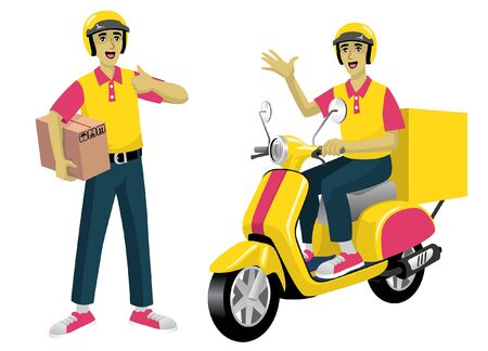 happy delivery man riding scooter set vector collection