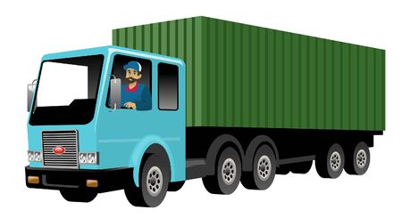 vector of worker driving cargo truck container