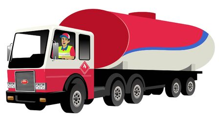 worker driving oil tanker truck Ilustracja