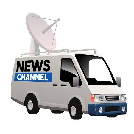 cartoon broadcasting van car Ilustracja