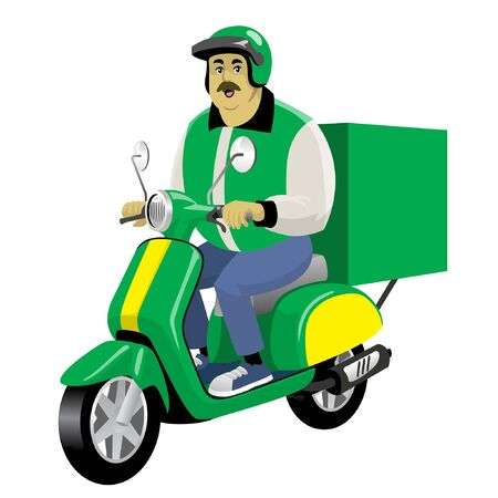 delivery man driving the scooter