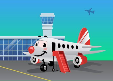 cartoon of happy airplane Ilustracja