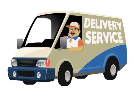 delivery worker driving cargo truck