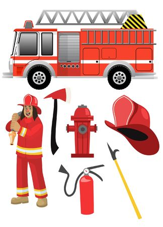 set vector of fire fighter Ilustracja