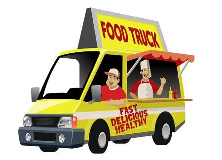 cartoon of food truck Ilustracja