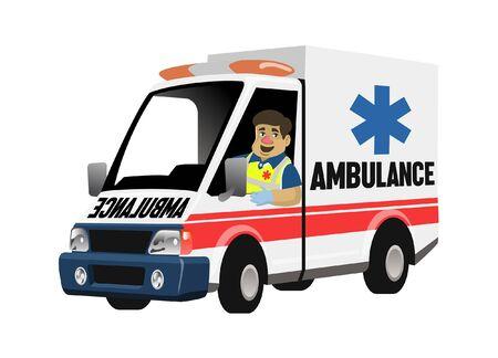 paramedic driving ambulance car