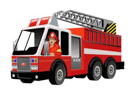 pompier conduisant un camion de pompiers