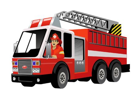 vigile del fuoco alla guida di un camion dei pompieri