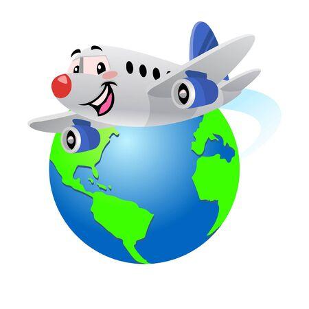 cartoon of happy airplane flying around the globe