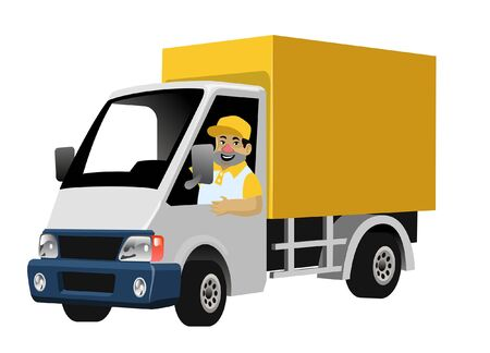 delivery worker driving the cargo box truck