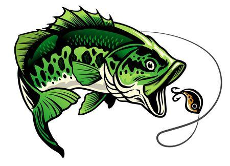 achigan à grande bouche attrapant le leurre de pêche Vecteurs