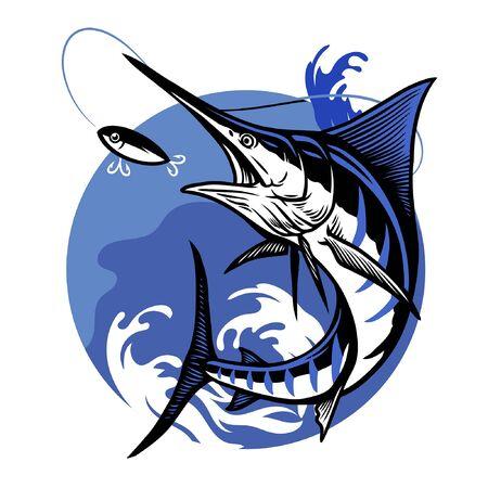 marlin fish catching the fishing lure  イラスト・ベクター素材