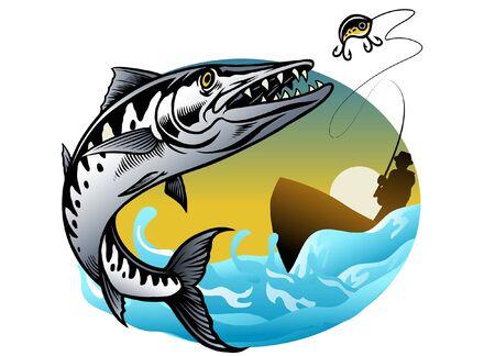 man fishing the barracuda fish  イラスト・ベクター素材