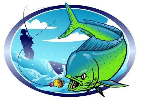 fishing the mahi mahi fish Stock Illustratie