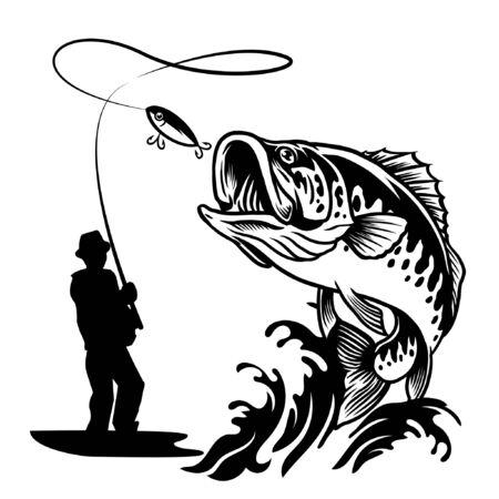 man fishing largemouth bass fish design