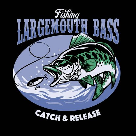 fishing largemouth bass t-shirt design Stock Illustratie
