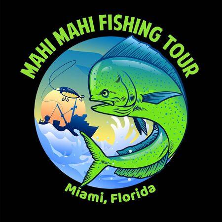 shirt design of mahi mahi sport fishing