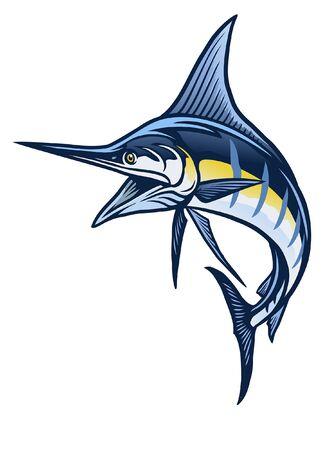 marlin fish illustration design