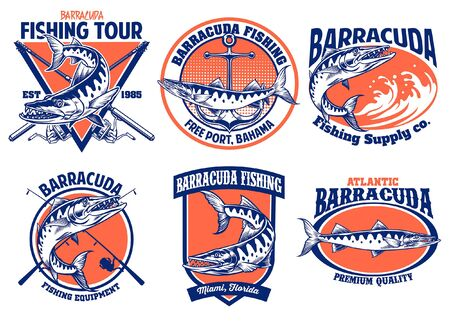 set bundle of barracuda badge design