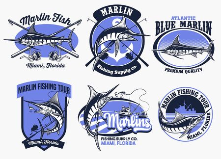 bundle of marlin fishing badge