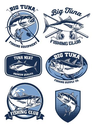 set bundle tuna fishing badge collection