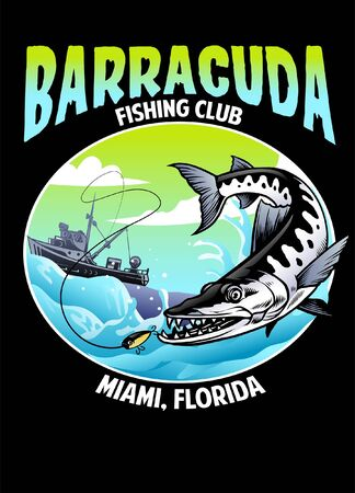 barracuda fishing shirt design  イラスト・ベクター素材
