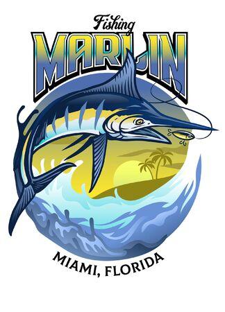 shirt design illustration of marlin fishing  イラスト・ベクター素材
