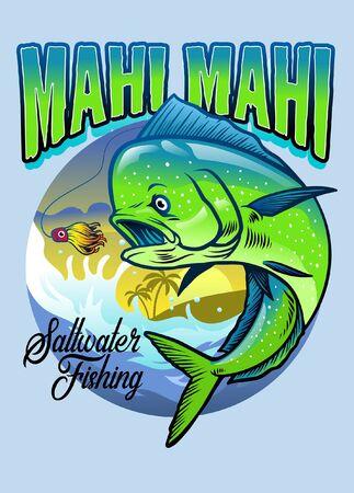 shirt design with mahi mahi fishing illustration  イラスト・ベクター素材
