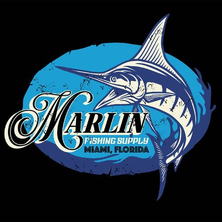 vintage shirt design of marlin fishing