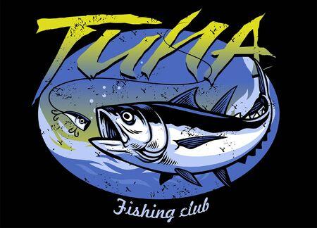 vintage style tuna fishing shirt design  イラスト・ベクター素材