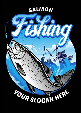 vector of salmon fishing shirt design