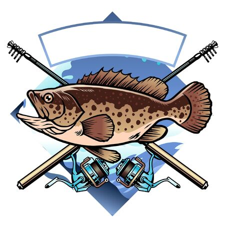 vector shirt of fishing the grouper fish