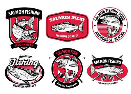 set of salmon fishing badge design Ilustração