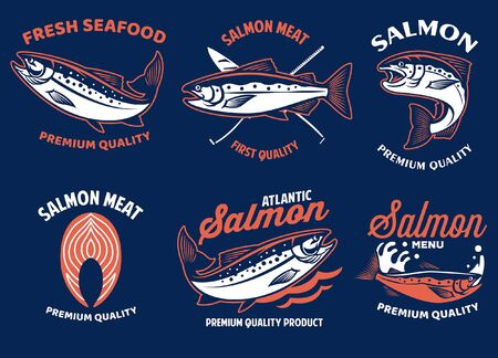 set bundle badge of salmon fishing design Ilustração