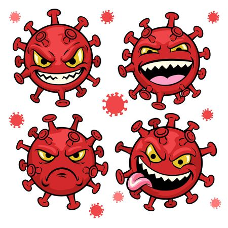 cartoon of coronavirus character Stock Illustratie